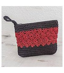 crocheted cosmetic bag, 'intricate texture in crimson' (guatemala)