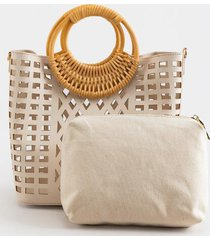 felicity bamboo handle tote - ivory
