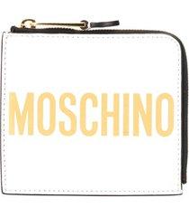 moschino logo print zip-around wallet - white