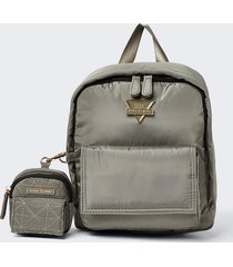 river island womens khaki front flap backpack with pouch