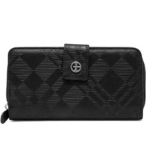 giani bernini embossed plaid all in one wallet, created for macy's
