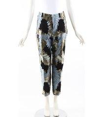 gucci multicolor floral print silk ankle pants black/multicolor/floral print sz: s