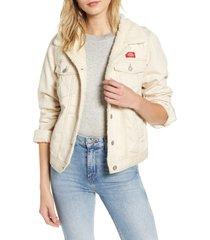 women's dickies fleece lined twill jacket, size large - white