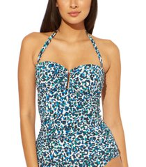 bleu by rod beattie bandeau printed u-wire tankini top women's swimsuit