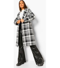 oversized geruite nepwollen jurk jas met ceintuur, black