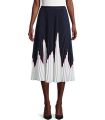 redvalentino women's colorblock accordian-pleat skirt - blue - size 40 (8)