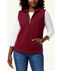 karen scott sport quilted fleece vest, created for macy's