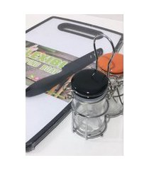 kit porta condimento de vidro tabua de corte