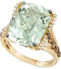 le vian mint julep quartz (9-3/4 ct. t.w.), white diamond (1/8 ct. t.w.) and chocolate diamond (3/8 ct. t.w.) ring in 14k gold, created for macy's
