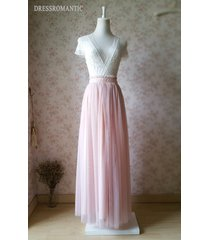 blush pink maxi tulle skirt elastic high waisted pink full long tulle skirt 42""