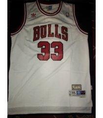 #33 scottie pippen retro hardwood classic chicago bulls white jersey stitched
