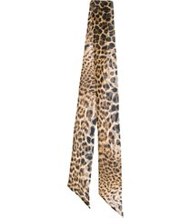 saint laurent leopard print skinny scarf - brown