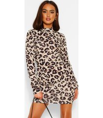 leopard high neck long sleeve mini dress, brown