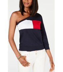 tommy hilfiger one-shoulder colorblocked sweatshirt, created for macy's