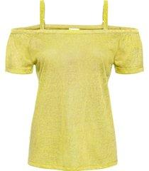 maglia lucida con spalle scoperte (giallo) - bodyflirt