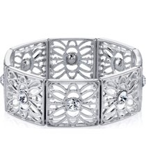 2028 silver-tone crystal filigree stretch bracelet