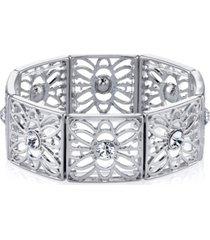 2028 silver-tone crystal filigree stretch bracelet