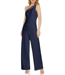 women's adrianna papell beaded one-shoulder crepe jumpsuit, size 14 - blue