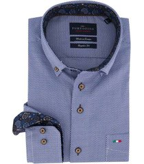 overhemd portofino regular fit blauw wit motief