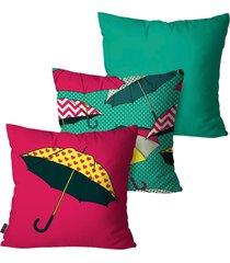 kit com 3 capas para almofadas pump up decorativas verde guarda-chuvas 45x45cm
