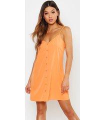 button through woven cami shift dress, orange