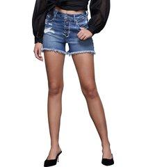 women's good american the bombshell high waist exposed button cutoff denim shorts