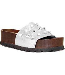 sandalia de cuero plata albany
