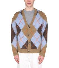 kenzo argyle cardigan with rhombus pattern
