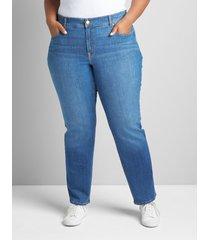 lane bryant women's curvy fit high-rise straight jean- medium wash 24l medium denim