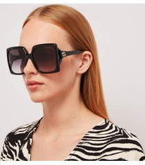 gucci women's 70's fork square frame sunglasses - black/black/grey