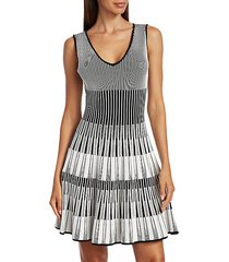 lurex stripe fit-&-flare dress
