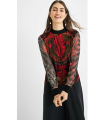slim high neck sweater - black - xs
