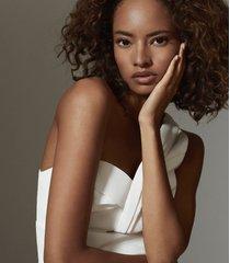 reiss hazel - one-shoulder bodycon top in white, womens, size 12
