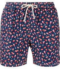 mc2 saint barth champagne print swim shorts - blue