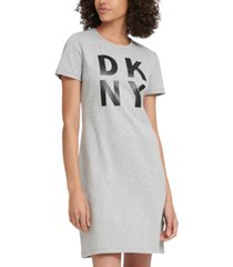 dkny sport cotton stacked-logo t-shirt dress