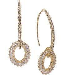 anne klein gold-tone baguette crystal threader drop earrings