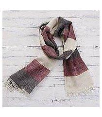 100% alpaca scarf, 'favorite cabernet' (peru)