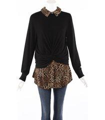 veronica beard phoebe black leopard print layered sweater black/brown/animal print sz: l