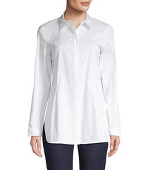 spread-collar cotton-blend shirt