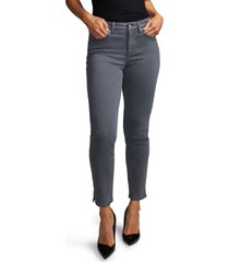 petite women's curves 360 by nydj slim straight leg ankle jeans, size 00p - grey