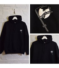 """actual fact wu tang clan """"protect your neck"""" embroidered black hip hop hoodie"""