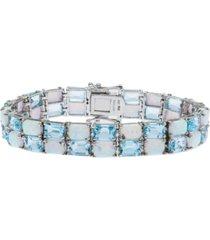 sky blue topaz (26-3/8 ct. t.w.) and opal (18-3/4 ct. t.w.) tennis bracelet in sterling silver