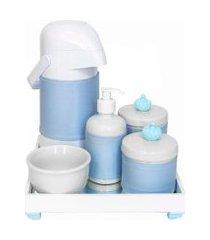 kit higiene espelho completo porcelanas, garrafa e capa coroa azul quarto bebê menino