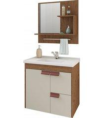 gabinete suspenso para banheiro tulipa 56x59cm amêndoa e off white