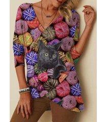 camicetta asimmetrica con scollo a v con stampa gatto a maniche lunghe plus camicetta per donna