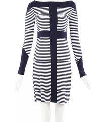 mott 50 striped stretch upf 50 dress blue/white sz: xs