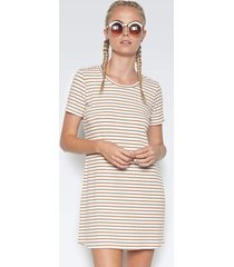 ridge mini dress - l tan stripe