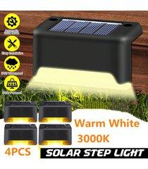 4pcs luces solares mecánica de plataforma led impermeable ip55 paso lámpara de pared blanco caliente 3000k paisaje escalera corredor inicio patio escaleras jardín camino vallas decoración - blanco cálido
