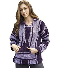 funky baja hoodie original mexican drug rug 100% recycled fibers purple jacket(m