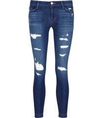 'cropped skinny' distressed jeans